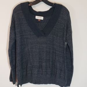 Grey Pullover Sweater with Hood Small Oversized
